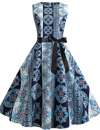 billige Kjoler-Dame Gatemote Elegant Swing Kjole - Geometrisk, Trykt mønster Knelang