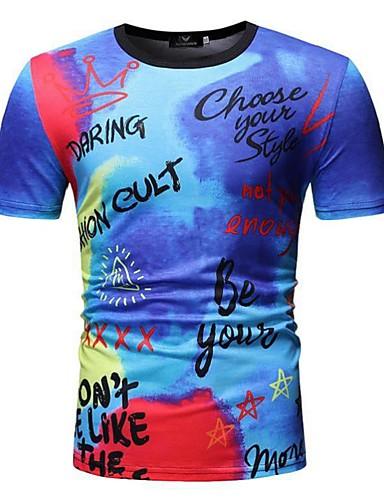 voordelige Heren T-shirts & tanktops-Heren Patchwork / Print EU / VS maat - T-shirt Katoen Kleurenblok / Blokken / Grafisch Ronde hals blauw