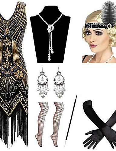levne Kostýmy z dávných časů-Charleston Vintage 1920s Gatsby Náhrdelník Čelenka Flapper Sady kostýmních doplňků Dámské Kostým Náušnice Červená / černá / Modrá / zlatá + černá Retro Cosplay Festival / Rukavice / Doplňky do vlasů