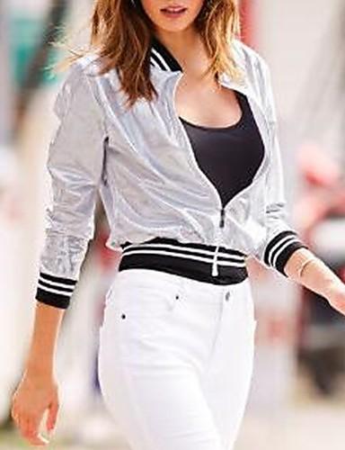 abordables Manteaux & Vestes Femme-Femme Quotidien Normal Veste, Bloc de Couleur Col Arrondi Manches Longues Polyester Argent M / L / XL