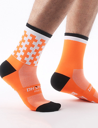 cheap Cycling Clothing-Men's Women's Cycling Socks Compression Socks Breathable Reduces Chafing Blue Pink Orange+White Winter Road Bike Mountain Bike MTB Basketball Stretchy