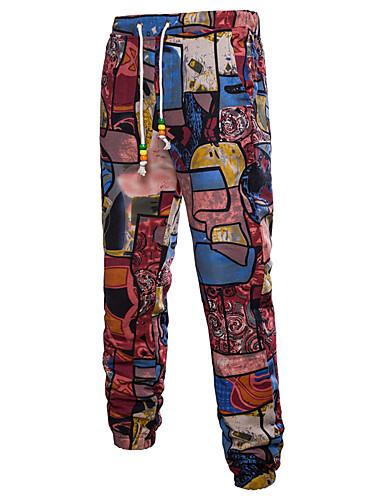 お買い得  メンズパンツ&ショーツ-男性用 ストリートファッション / アジアン・エスニック プラスサイズ タイト チノパン パンツ - プリント / 仕様 プリント リネン ルビーレッド カーキ色 XXXL XXXXL XXXXXL / ドローストリング