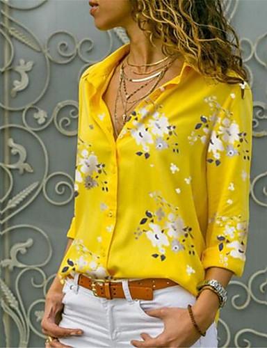 povoljno Majica-Majica Žene - Ulični šik Pamuk Cvjetni print Kragna košulje Print Svjetloplav / Proljeće