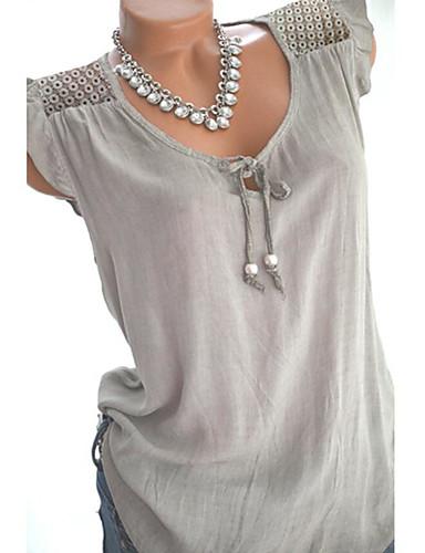billige Dametopper-V-hals Store størrelser Skjorte Dame - Ensfarget, Drapering / Blondér Svart / Vår / Sommer / Høst