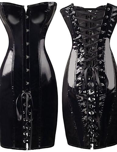 billige Undertøy-kvinners korsett kjole steampunk wetlook faux lær vintage klubb bustiers