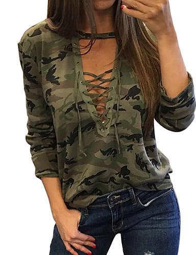 abordables Hauts pour Femme-Tee-shirt Grandes Tailles Femme, camouflage Slim Vert