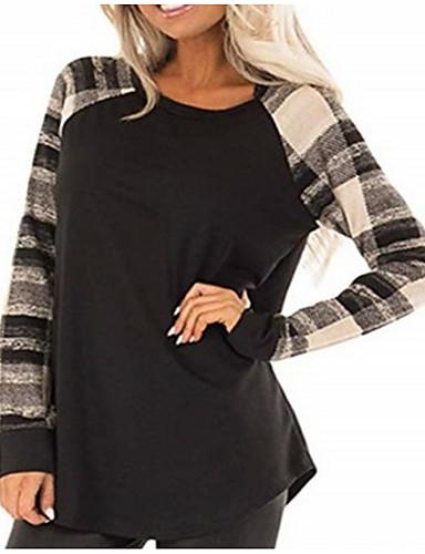 abordables Hauts pour Femmes-Tee-shirt Femme, Bloc de Couleur Gris