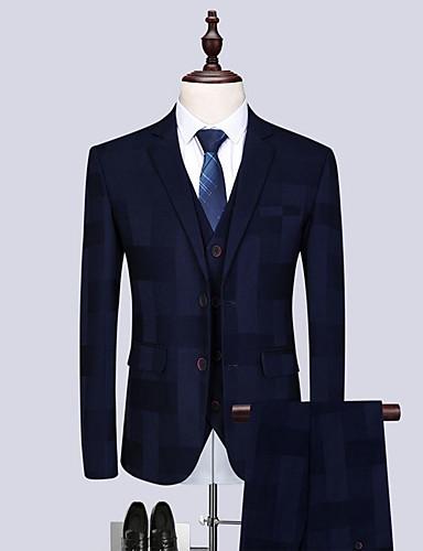 povoljno Muški sakoi i odijela-Muškarci odijela, Jednobojni Klasični rever Poliester Navy Plava US40 / UK40 / EU48 / US42 / UK42 / EU50 / US44 / UK44 / EU52