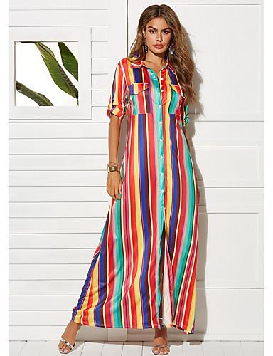 3d0e46dc638d Γυναικεία Κομψό Γραμμή Α Φόρεμα - Ριγέ Μακρύ