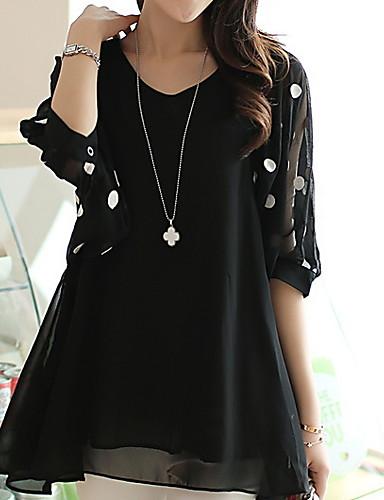 povoljno Ženske majice-Bluza Žene Na točkice V izrez Crn