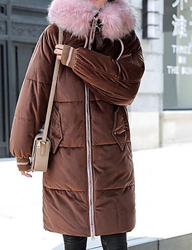 billige Ytterklær til damer-Dame Daglig Grunnleggende Høst vinter Lang Frakk, Ensfarget Med hette Langermet Polyester Svart / Lysebrun / Rosa
