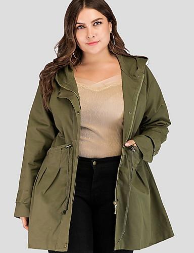 billige Ytterklær til damer-Dame Daglig Lang Trenchcoat, Ensfarget Med hette Langermet Polyester Militærgrønn XXL / XXXL / XXXXL
