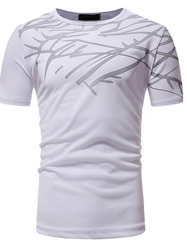 voordelige Herenoverhemden-Heren Kruiselings T-shirt Katoen Effen / Gestreept Ronde hals Zwart