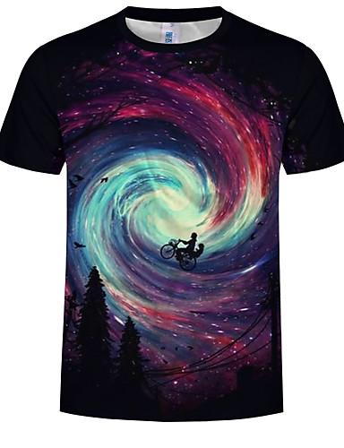 Pánské - Galaxie / 3D Větší velikosti Tričko, Tisk Bavlna Kulatý Černá XXXXL