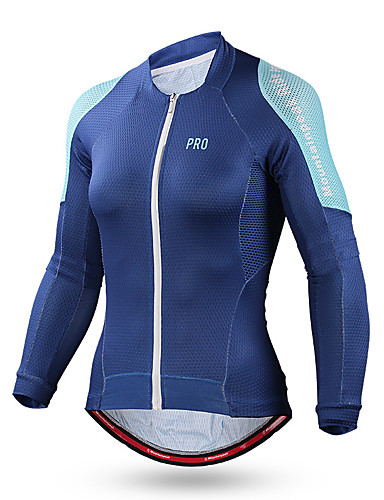 cheap Cycling Clothing-Women's Long Sleeve Cycling Jersey - Dark Blue Green Blue Bike Jersey Top Windproof Breathable Quick Dry Sports Rayon Mountain Bike MTB Road Bike Cycling Clothing Apparel / Stretchy / Sweat-wicking