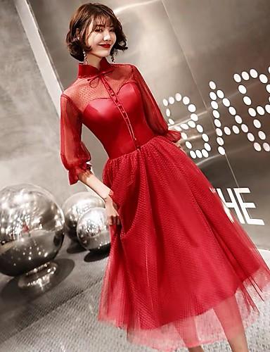 Linea-a Regina Anna Lunghezza Tè Tulle Vestito Con Di Lan Ting Express #07305484 Giada Bianca