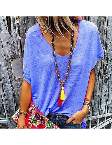 billige Dametopper-Løstsittende V-hals T-skjorte Dame - Ensfarget Rosa XXXXL