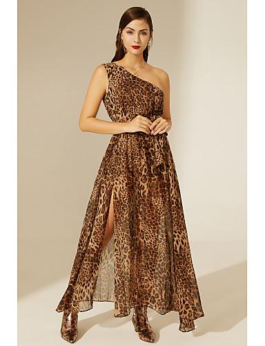 cheap TS@ Clothing-TS@ Women's Basic Sheath Swing Dress - Leopard Brown