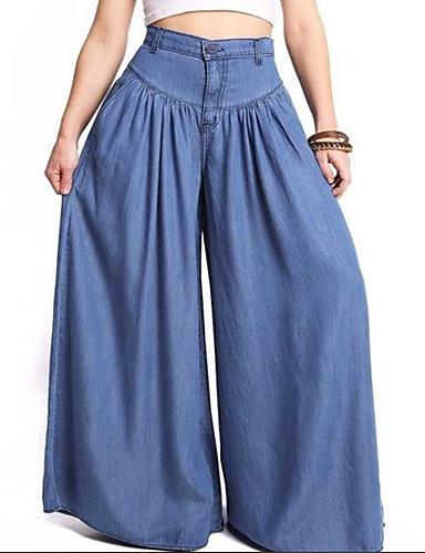 Per Donna Moda Città A Zampa Pantaloni - Tinta Unita Blu #07294231 I Clienti Prima Di Tutto