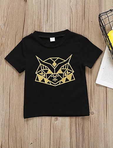 Acquista A Buon Mercato Bambino Da Ragazza Attivo - Essenziale Fantasia Geometrica - Con Stampe Manica Corta Cotone - Poliestere T-shirt Nero #07232899