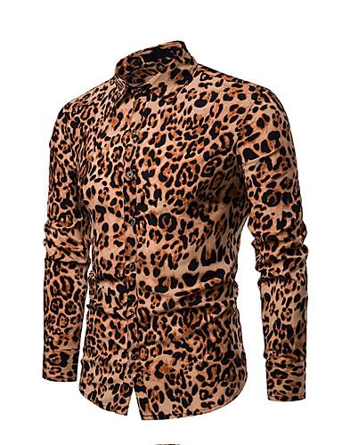 voordelige Herenoverhemden-Heren Overhemd Katoen Luipaard Rood