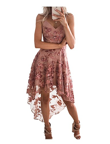 abordables Robes Femme-Femme Soirée Sexy Asymétrique Trapèze Robe - Dentelle, Couleur Pleine A Bretelles Rose Poudré Eté Rose Claire M L XL Dentelle Sans Manches