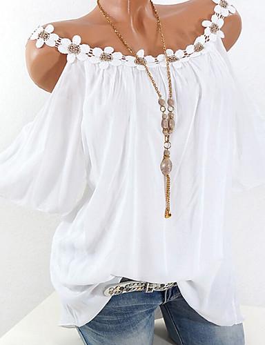 povoljno Ženske majice-Majica s rukavima Žene Dnevni Nosite Jednobojni Čipka / Spuštena ramena Blushing Pink