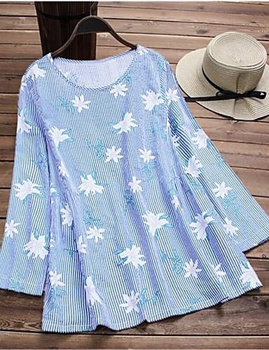 billige Dametopper-T-skjorte Dame - Stripet / Blomstret, Lapper / Trykt mønster Rosa