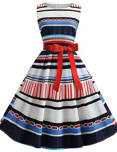 billige Kjoler-Dame Grunnleggende Bohem A-linje Swing Kjole - Stripet Fargeblokk, Blonde Lapper Trykt mønster Knelang