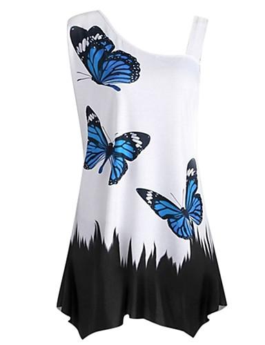 billige Dametopper-Tynn Enskuldret T-skjorte Dame - Grafisk, Trykt mønster Grunnleggende Vin