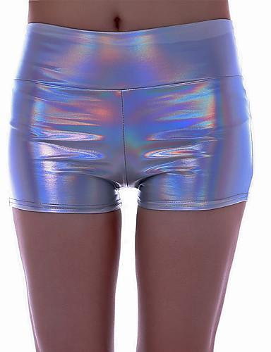 abordables Pantalons Femme-Femme Chic de Rue / Punk & Gothique Chino / Short Pantalon - Couleur Pleine / Multicolore Paillettes Taille basse Polyuréthane Gris Violet Arc-en-ciel L XL XXL