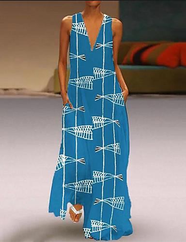 57dcc2138e abordables Vestidos de Mujer-Mujer Básico Vaina Vestido Geométrico Maxi