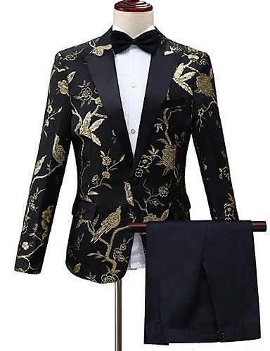 ราคาถูก เสื้อคลุมบุรุษ-สำหรับผู้ชาย ชุด ปกคอแบะของเสื้อแบบน็อตช์ เส้นใยสังเคราะห์ สีทอง / ใบไม้สีเขียวที่มีสามแฉก / ทับทิม L / XL / XXL