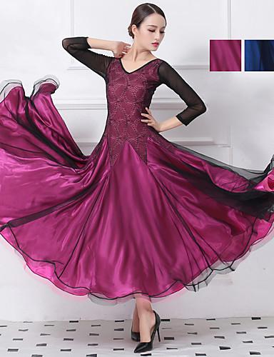 cheap Ballroom Dancewear-Ballroom Dance Dresses Women's Training / Performance Mesh / Elastane / Lace Lace / Split Joint Natural Dress