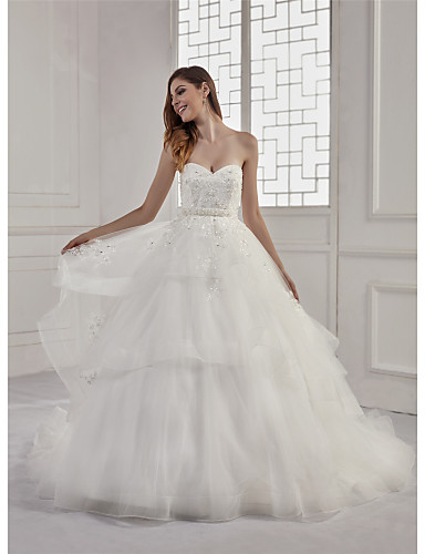 14d01401a6a A-Line Sweetheart Neckline Court Train Lace   Tulle   Sequined  Made-To-Measure Wedding Dresses with Beading   Appliques   Sashes   Ribbons  by ANGELAG