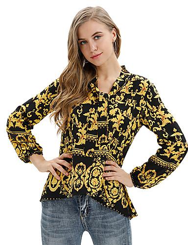 abordables Camisas y Camisetas para Mujer-Mujer Boho / Elegante Acordonado Camisa Floral Amarillo L