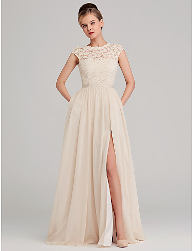 f5c5827287a89 cheap Bridesmaid Dresses-A-Line Jewel Neck Long Length Chiffon / Lace Bridesmaid  Dress