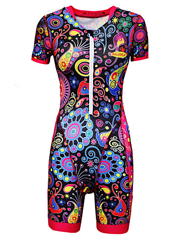 cheap Cycling-Women's Short Sleeve Triathlon Tri Suit Black Floral Botanical Bike Breathable Moisture Wicking Sports Lycra Multi Color Clothing Apparel / Stretchy / YKK Zipper / Race Fit / Italian Ink