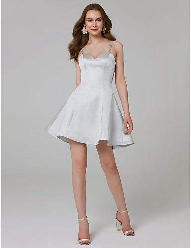 billige Cocktailkjoler-A-linje Spaghettistropper Kort / mini Satin Formel aften Kjole med Krystaldetaljering ved TS Couture®