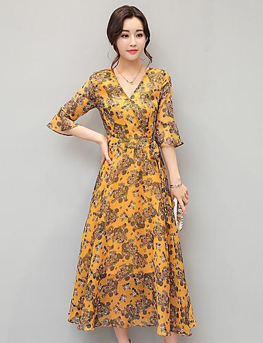 voordelige Maxi-jurken-Dames Standaard A-lijn Jurk - Bloemen, Print Maxi