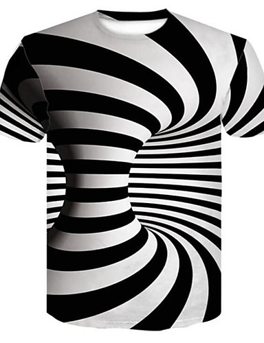 voordelige Herenbovenkleding-Heren Print T-shirt Gestreept / Geometrisch / 3D Wit