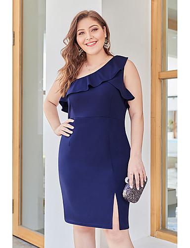 18d7cd930f abordables Vestidos de Mujer-Mujer Básico Vaina Vestido Un Color Hasta la  Rodilla