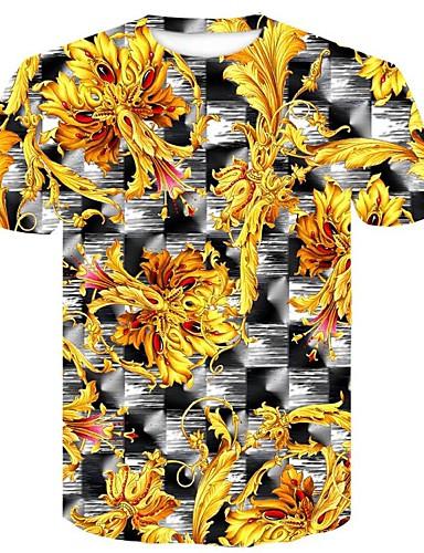 billige T-shirts og undertrøjer til herrer-Rund hals Tynd Herre - Geometrisk / 3D Bomuld, Trykt mønster Plusstørrelser T-shirt Gul XXL