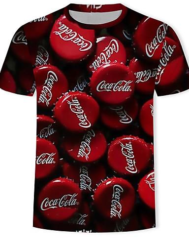 voordelige Herenbovenkleding-Heren Print T-shirt 3D / Grafisch / Letter Rood