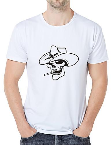 cheap Men's Tees & Tank Tops-Men's Casual / Daily Athleisure Business / Elegant Plus Size Slim T-shirt - Graphic / Skull Print Round Neck White XXL / Short Sleeve