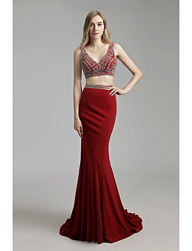 저렴한 투피스 드레스-트럼펫 / 머메이드 급경사 네클라인 스윕 / 브러쉬 트레인 크레이프 투피스 / 아름다운 뒤태 포멀 이브닝 드레스 와 크리스탈 디테일 으로 JUDY&JULIA