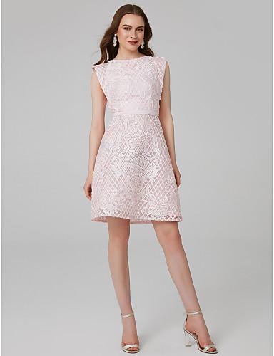 billige Formelle dresser-A-linje Besmykket Kort / mini Blonder Cocktailfest Kjole med Delt front av TS Couture®