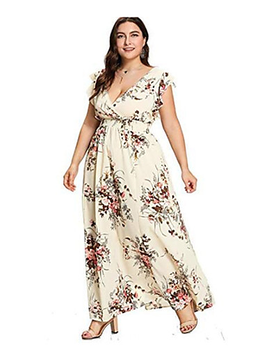 00b01e156a Women's Basic Elegant Swing Dress - Geometric Blushing Pink Beige Navy Blue  XXXL XXXXL XXXXXL