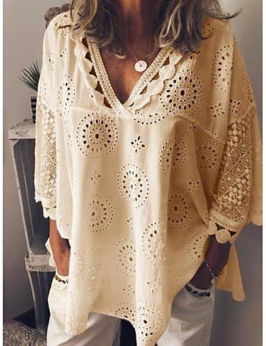 povoljno Majica-Veći konfekcijski brojevi Majica Žene Ležerno / za svaki dan Jednobojni V izrez Širok kroj, Čipka Obala