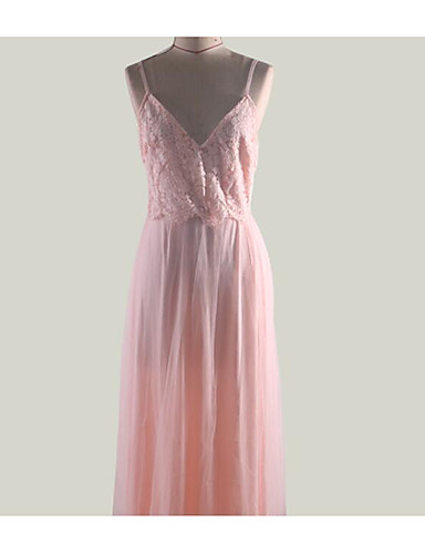 cheap Prom Dresses-Maxi Dress A-Line V Neck Floor Length Chiffon / Lace Dress with Lace Insert by LAN TING Express